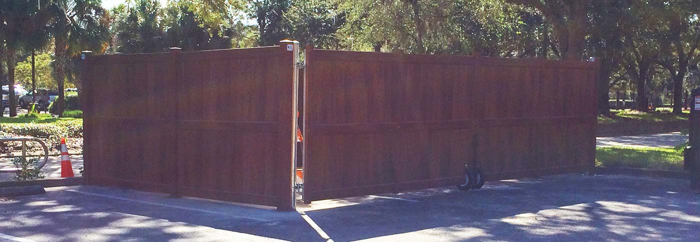 Brown PVC Dumpster Enclosure